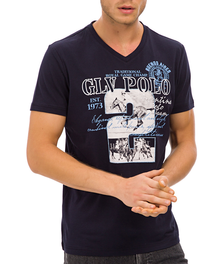 Navy blue V-neck pure cotton T-shirt Sale - galvanni