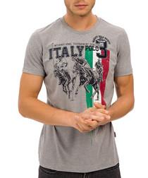 Grey Italy graphic crew neck T-shirt
