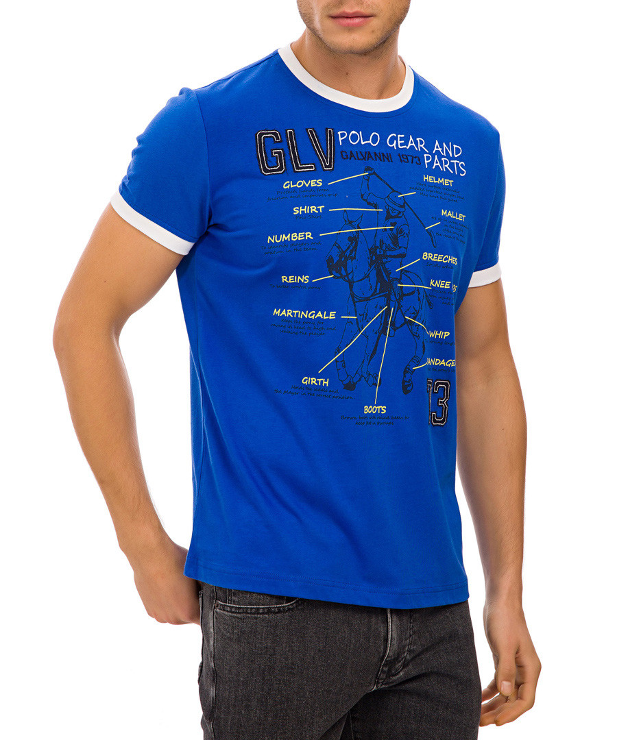 Blue pure cotton diagram graphic T-shirt Sale - galvanni