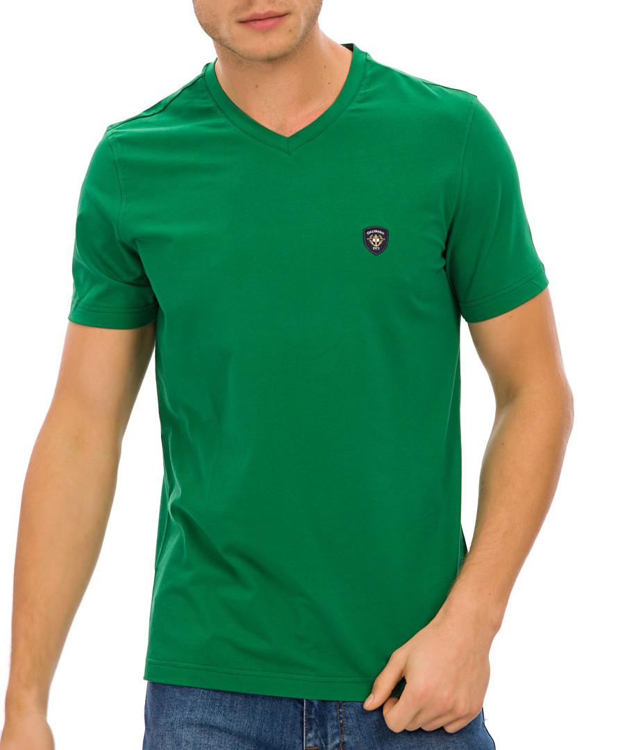 Green cotton blend logo V-neck T-shirt Sale - Galvanni