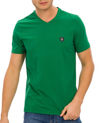 Green cotton blend logo V-neck T-shirt