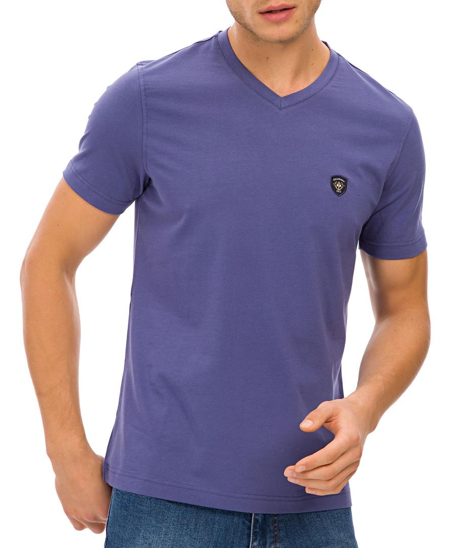 Indigo cotton blend logo V-neck T-shirt Sale - Galvanni