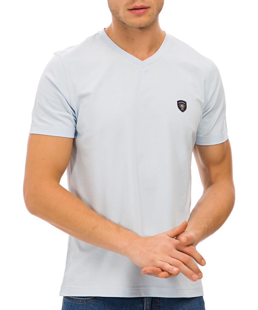 Blue cotton blend logo V-neck T-shirt Sale - galvanni