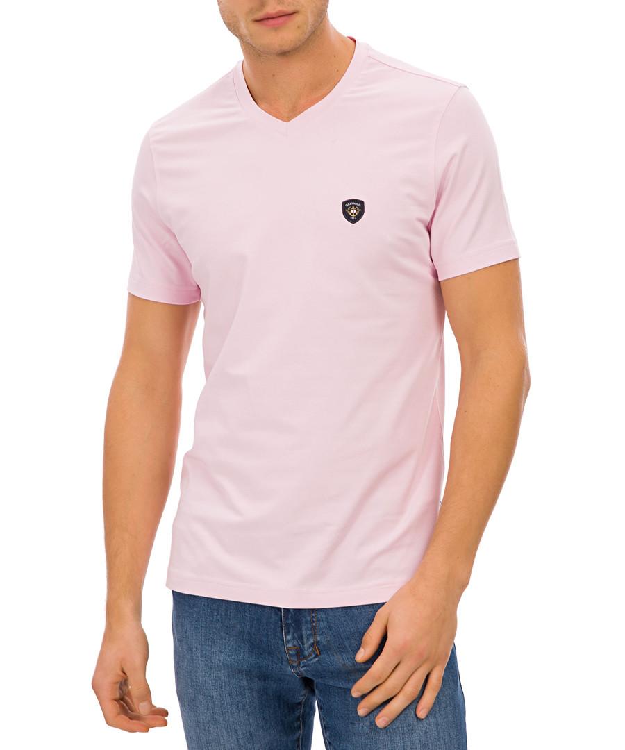 Pink cotton blend logo V-neck T-shirt Sale - Galvanni
