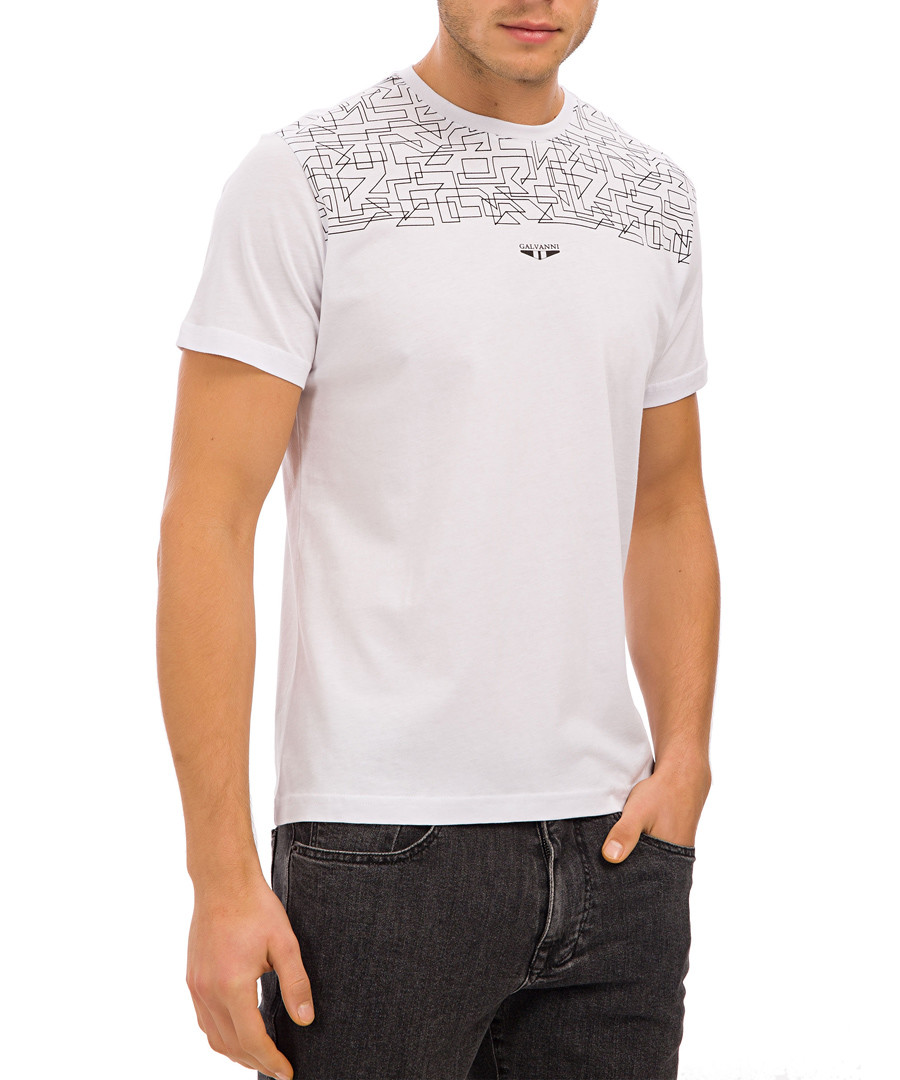 White pure cotton graphic print T-shirt Sale - Galvanni