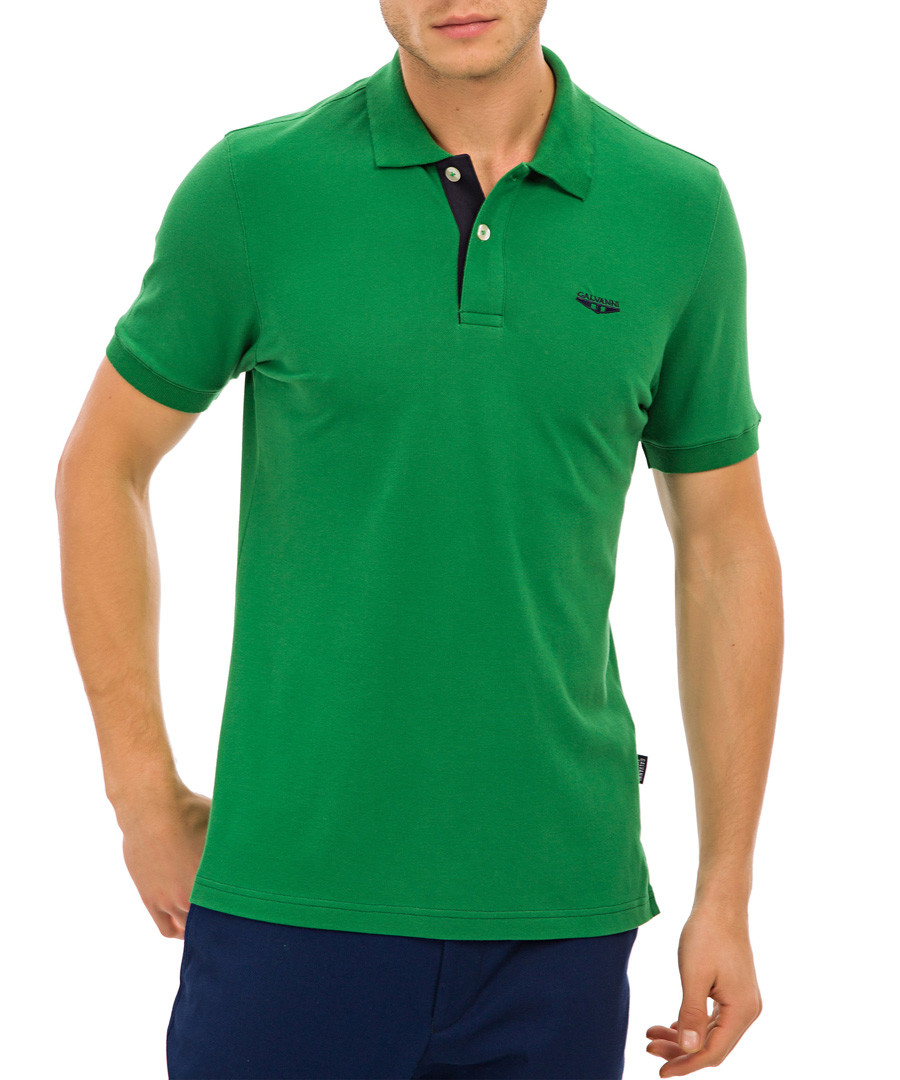 Green collar logo polo T-shirt Sale - galvanni