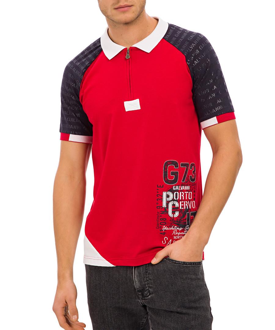 Red graphic colour block polo T-shirt Sale - galvanni