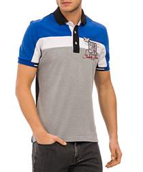 Grey blue & white graphic polo T-shirt