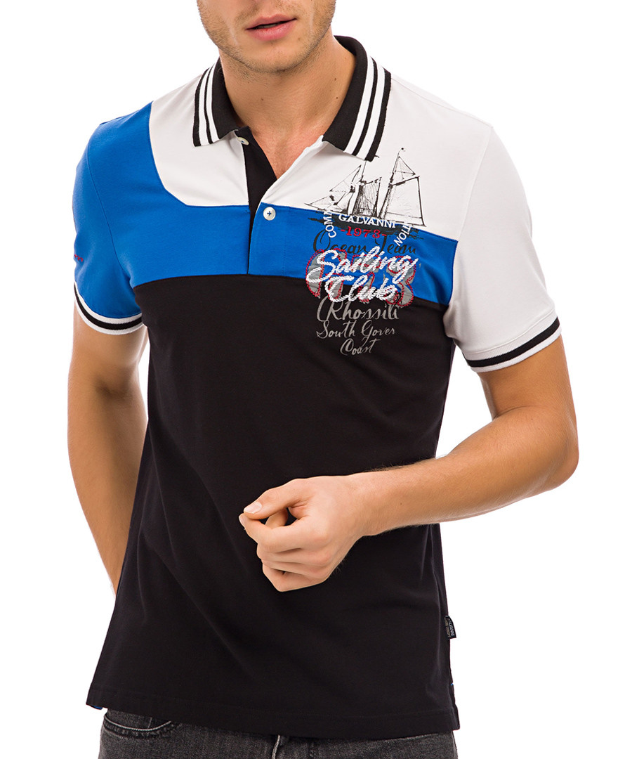 Black boat graphic print polo T-shirt Sale - Galvanni