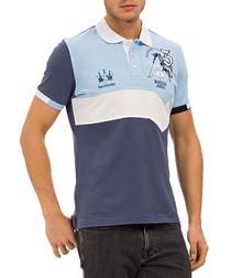 Blue pure cotton print polo T-shirt