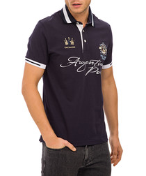 Navy cotton blend print polo T-shirt