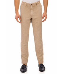 Rin light beige cotton blend trousers
