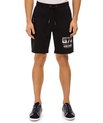 Alpt black cotton blend print shorts
