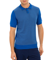 Gloucester blue knit polo T-shirt