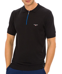 Hereford black knit polo T-shirt