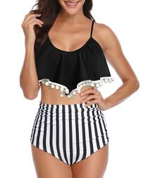 Black & white stripe pom-pom bikini set