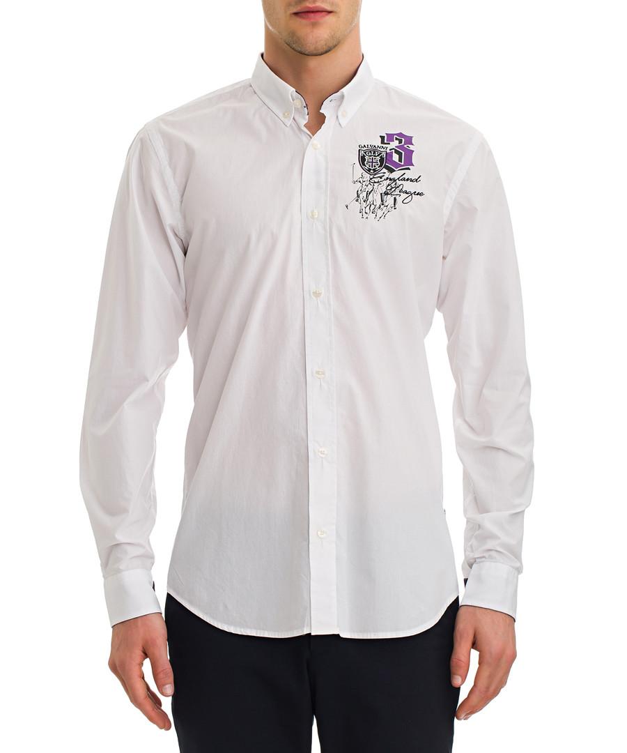 Somerton white cotton button-up shirt Sale - galvanni