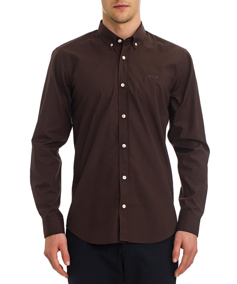 Hasselt dark brown button-up shirt Sale - galvanni
