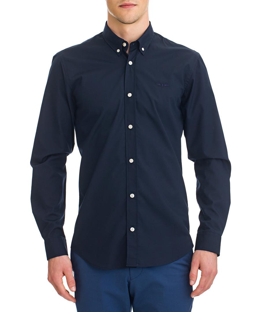 Hasselt blue button-up long sleeve shirt Sale - galvanni