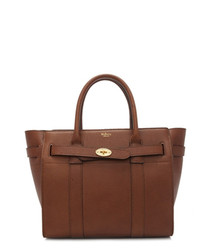 Small Zipped Bayswater oak leather tote