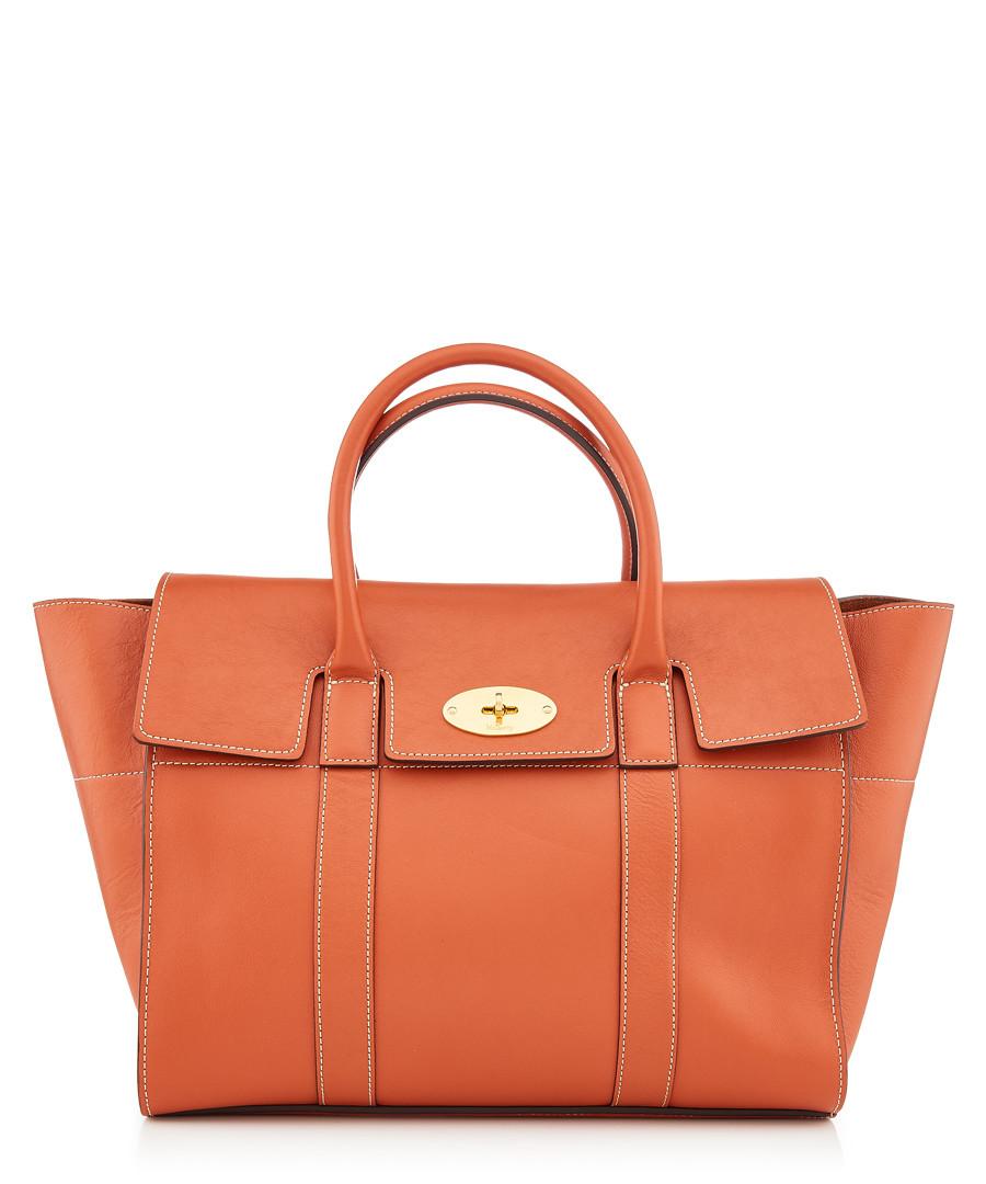 Bayswater Orange leather shopper Sale - MULBERRY