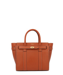 Mini Zipped Bayswater brown leather tote
