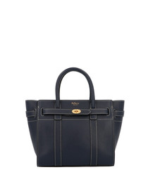 Mini Zipped Bayswater blue leather tote
