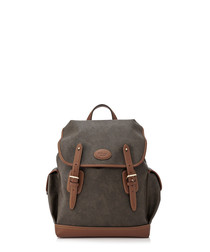 Heritage mole & cognac leather backpack