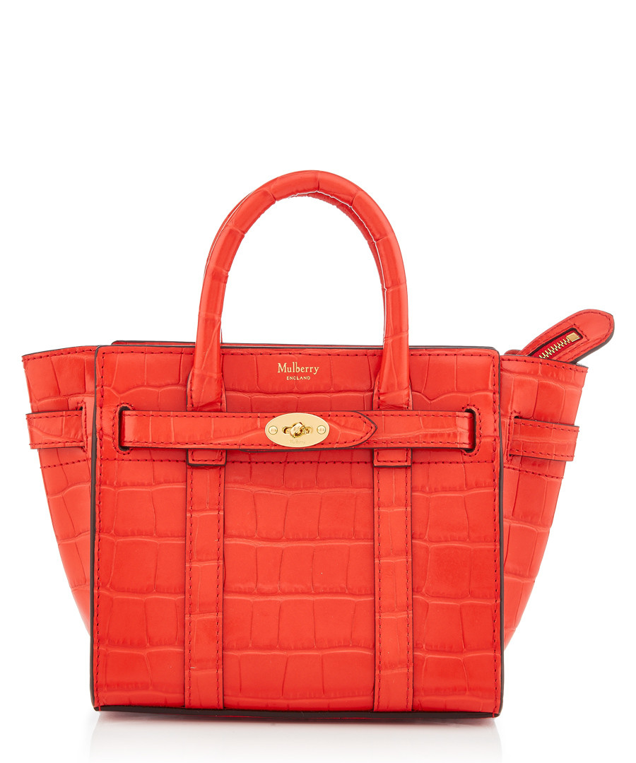 Micro Bayswater red leather shopper Sale - MULBERRY