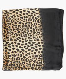 Lula Black leopard printed satin scarf