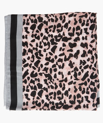 Pink & grey leopard printed satin scarf