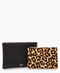 2pc Leopard print & black wallet