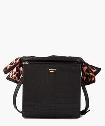 Black & leopard print detail grab bag