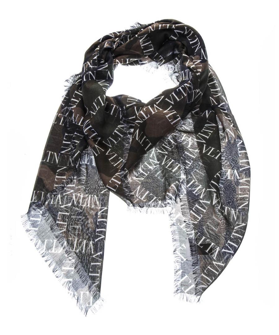 Military green cashmere blend logo scarf Sale - valentino
