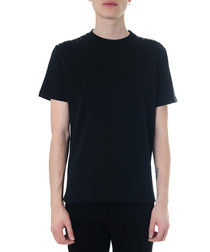 Black pure cotton rockstud hem T-shirt
