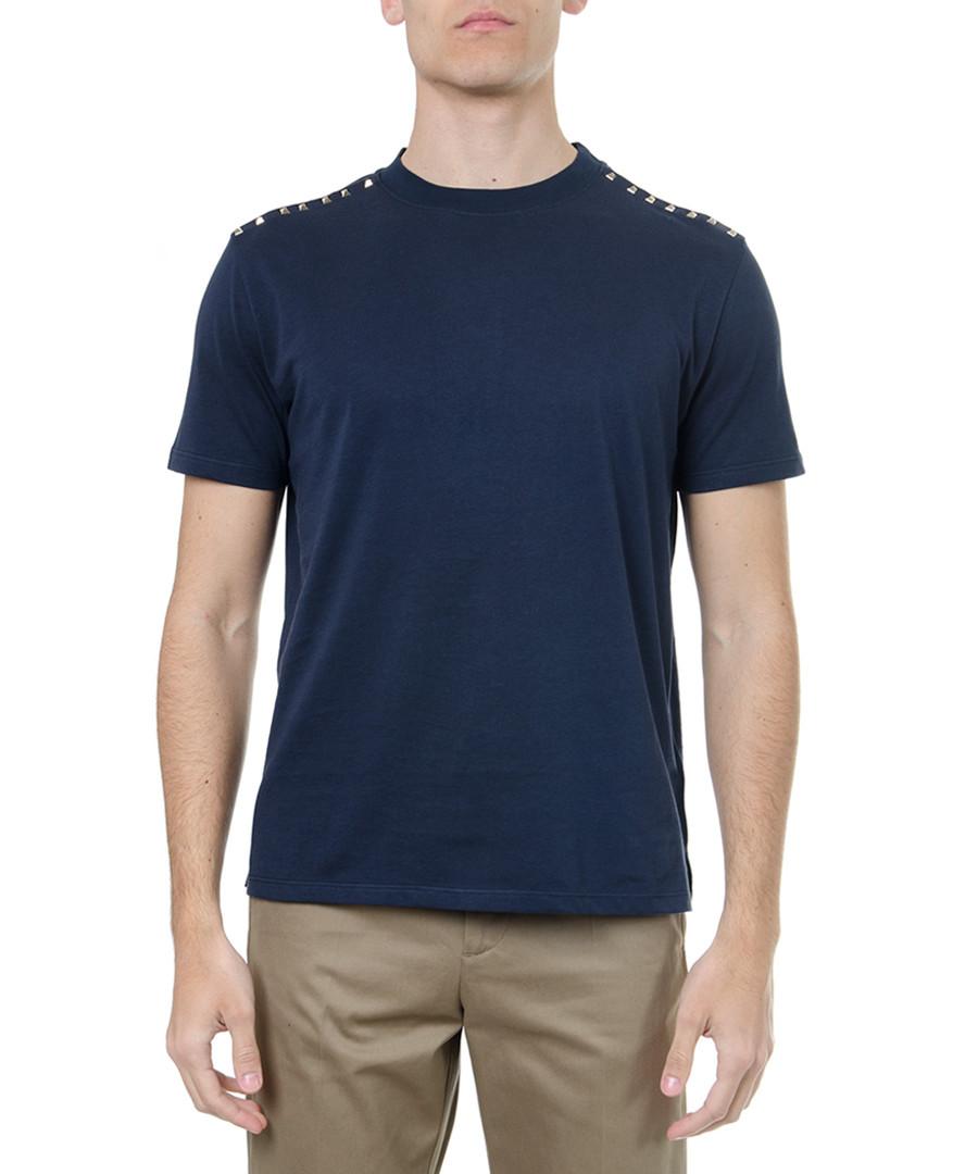Navy pure cotton rockstud hem T-shirt Sale - valentino