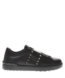 Black studded leather low-top sneakers