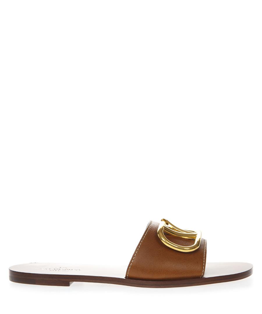 Camel leather slip-on logo sandals Sale - valentino garavani
