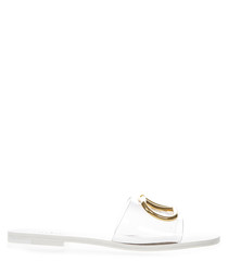 Clear PVC & white leather logo sandals