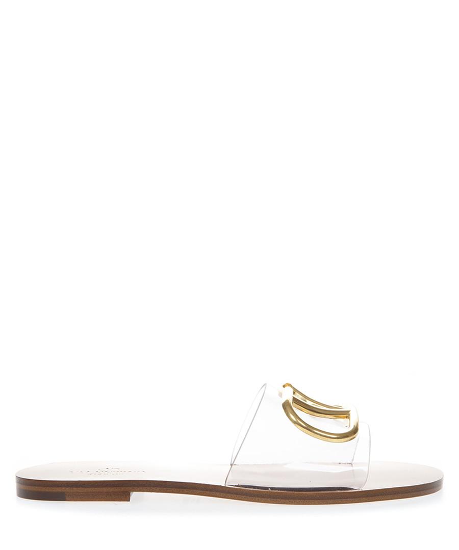 Clear PVC & camel leather logo sandals Sale - valentino garavani