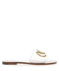 Clear PVC & camel leather logo sandals