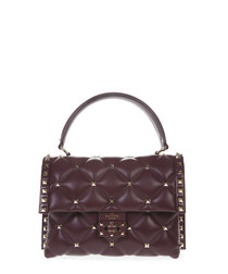 Candystud wine quilted leather crossbody
