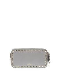 Grey leather rockstud pouch bag