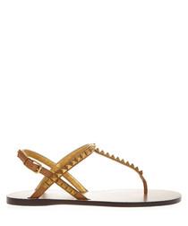 Camel leather rockstud sandals
