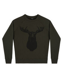 moose army green cotton blend jumper
