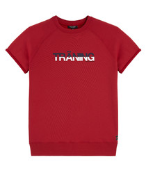 Traning red cotton blend T-shirt