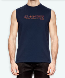 games navy cotton blend vest
