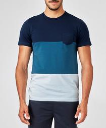 blue pure cotton gradation T-shirt
