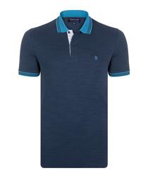 Indigo pure cotton logo polo shirt