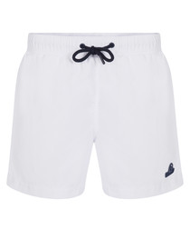 White logo design swimming trunks